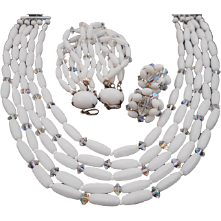 Vintage Signed W. Germany Milk Glass and AB Crystal Set Full Parure