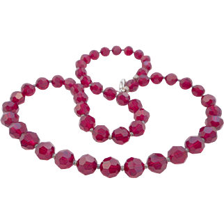 """Vintage 20"""" Ruby Red Faceted Crystal Necklace"""