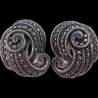 Vintage Signed JJ STERLING 925 Marcasite Swirl Earrings