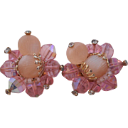 Vintage SIGNED Vendome Soft Pink Crystal and Givre Glass Earrings
