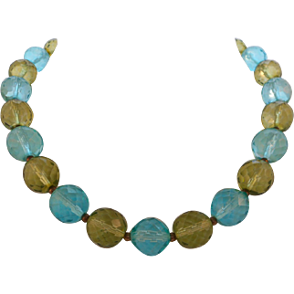 Vintage Large Caribbean Blue Green Faceted Crystal Round Bead Choker Necklace
