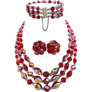 Vintage Red Aurora Borealis Crystal Bead 3 Strand Necklace Bracelet Earrings Set Parure