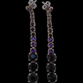 Vintage SIGNED Sorrelli Deep Purple Swarovski Crystal Shoulder Duster Earrings