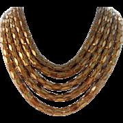 Vintage Unique Mixed Metal 5-Strand Necklace Collar