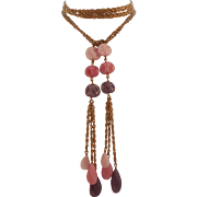 Vintage 1970's Chain Pink Purple Glass Bead True Lariat Necklace