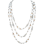 """Vintage 60"""" SIGNED Ali Khan New York Opaline and Milk Glass Necklace"""