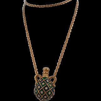 Vintage Green Enamel Rhinestone Bottle Necklace