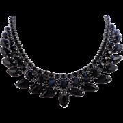 Vintage WEISS  Black Marquise Glass Rhodium Necklace
