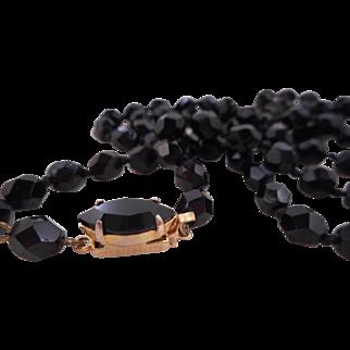 "Vintage 32"" 1940's Black Czech Glass Knotted Fancy Clasp Necklace"