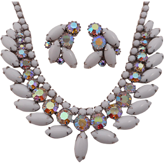 Vintage WEISS Milk Glass Polychromatic Austrian AB Crystal Necklace Earrings Demi Parure