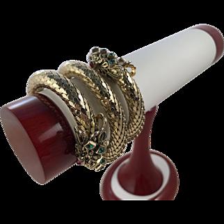 Vintage Gold Tone Oromesh 3 Coil Snake Dragon Filigree Glass Stone Bracelet