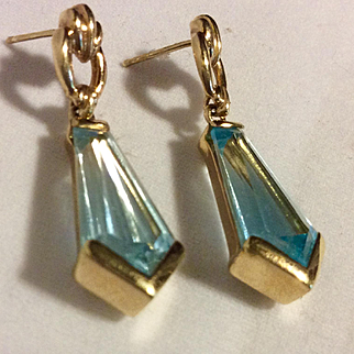 DECO Aquamarine Earrings 14kt Fabulous