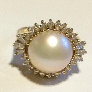 Deco Huge Tahitian White Pearl & Diamond 14kt Stunning Ring