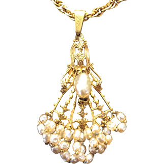 Miriam Haskell Pendant Pearl Necklace C:1940 SIGNED