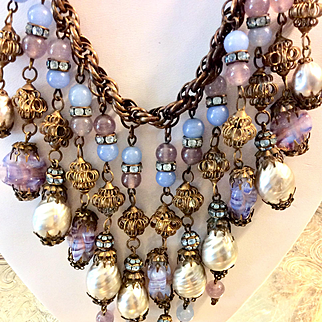 Miriam Haskell Baroque Pearl STATEMENT Necklace & Earrings C:1940 Signed