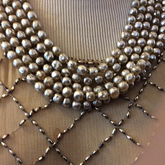 Miriam Haskel Five. Strand Pearl Necklace