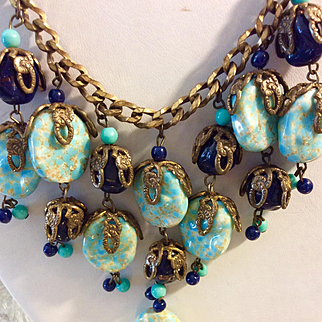 Miriam Haskell Turquoise & Cobalt Blue Necklace & Earrings