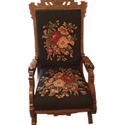 Victorian Needle Point Platform Rocking Chair