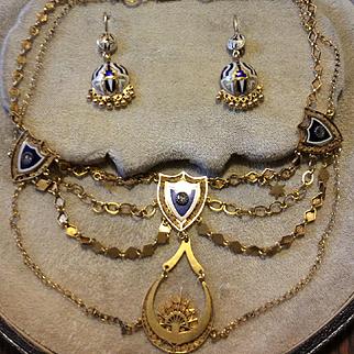 Russian Necklace & Earrings Diamond & Enamel   22kt Gold  C:1880
