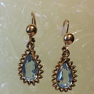 Victorian Aquamarine Earrings  14kt  pierced