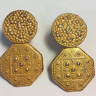 Miriam Haskell c: 1940 Ornate Gold Earrings