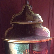 19th century corner cupboard painted and decorated in the Bloomsbury style in the early 20 th century.