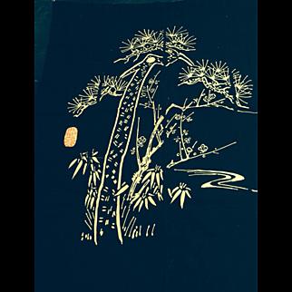 Indigo dyed wax resist Japanese futon cover.  Mid 20 th century