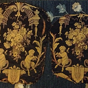 2 panels woven  silk and cotton , 19 th century fawns playing pipes. French