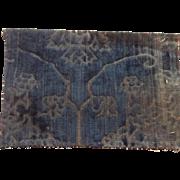 15 th century silk velvet fragment. Very rare.