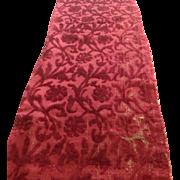 17 th century silk velvet panel. Italian. Rare piece.