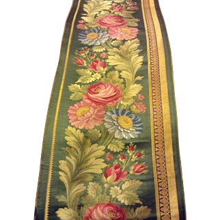19 th century French silk panel. Wonderful roses. Perfect for pillows.