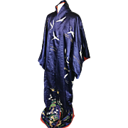 19 th century Japanese silk kimono heavily embroidered. Japanese royal family badge.