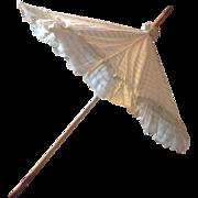 19 th century very pretty parasol in pale eau de nil and cream glazed cotton,