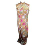 1960's hand embroidered long evening dress. Boho chic.