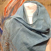 19 th century Ottoman cotton with metallic embroidery , shawl or panel .