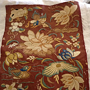 Chinese embroidered small panel. Circa 1900. Hand embroidered.