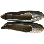 Georgian dance slippers in pale blue kid leather with cream trim. Circa 1800. English.