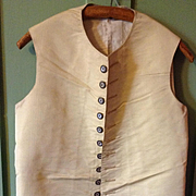 18th century mens silk waistcoat with mother of pearl and sequinned buttons. English.