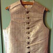 18 th century mens waistcoat, beautiful metallic brocade. Handmade buttons .English