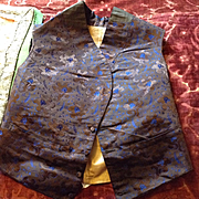 Early 19th century youth or mens waistcoat. silk brocade , excellent condition.