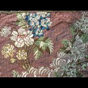 18 th century English silk dress fabric mat with handmade metallic trim.