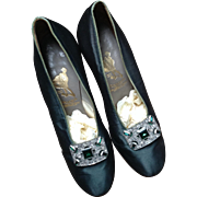 1930 s bottle green silk shoes with elaborate buckle. London.England.