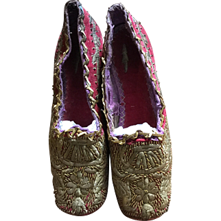 Early 19 th century red plush and gold embroidered ladies shoes. Perfect condition. Possibly Venetian.