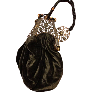 Circa 1910. Arts and Crafts purse with amazing celluloid top .mediaeval style.