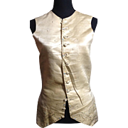 Early 18 th century men's silk waistcoat. Embroidered. English.