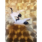 19 th century Japanese panel , embroidered cranes and metallic Gold Kinran textile.