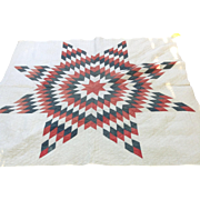 Mid 19 th century Star of Bethlehem quilt . American. Cotton , natural dyes hand quilted.