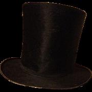 Stove pipe top hat. Circa 1850. Philadelphia. Beaver fur.