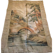 Japanese silk and linen hand embroidered wall hanging . 19 th century.