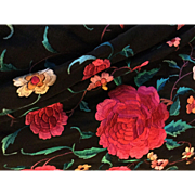 1920's silk embroidered piano shawl. Large red cabbage roses